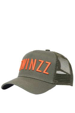 Twinzz 3D Mesh Trucker Cap - Olive/Orange