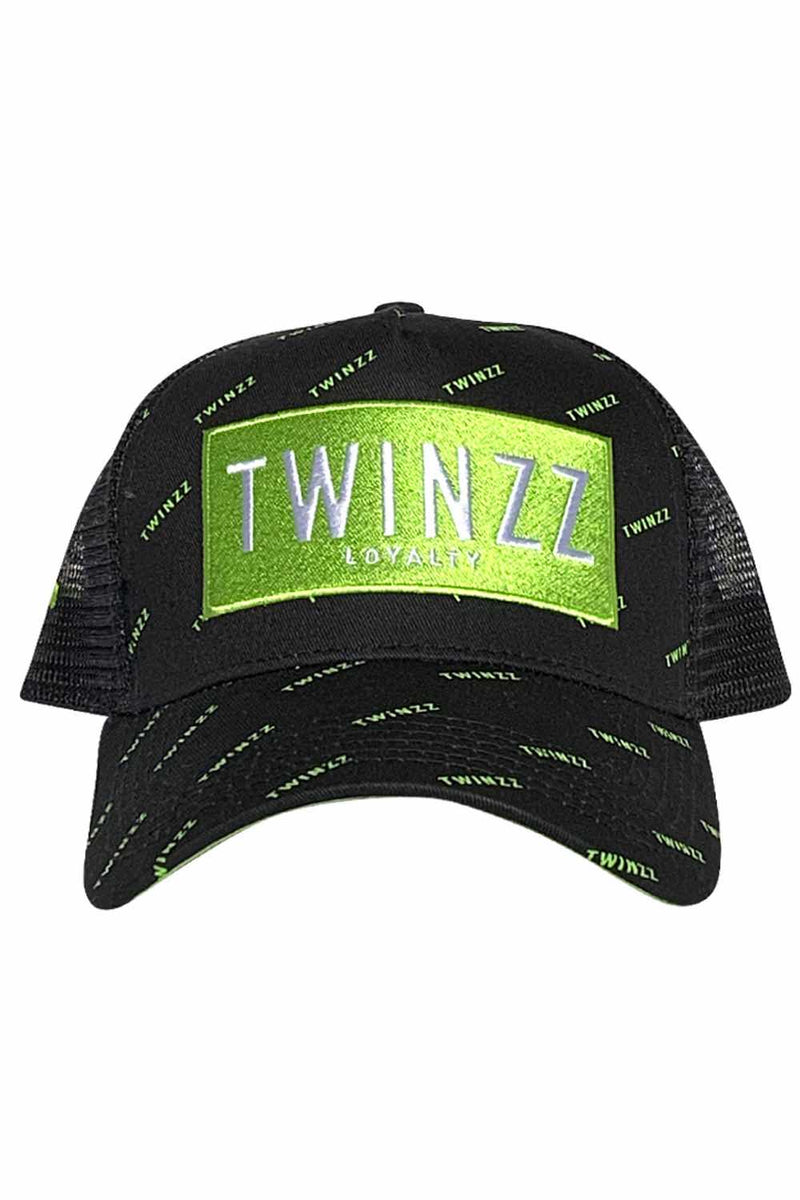 Twinzz Pinelli Repeat Mesh Trucker Cap - Black/Neon