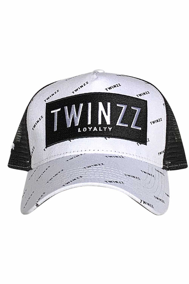 Twinzz Pinelli Repeat Mesh Trucker Cap - White/Black