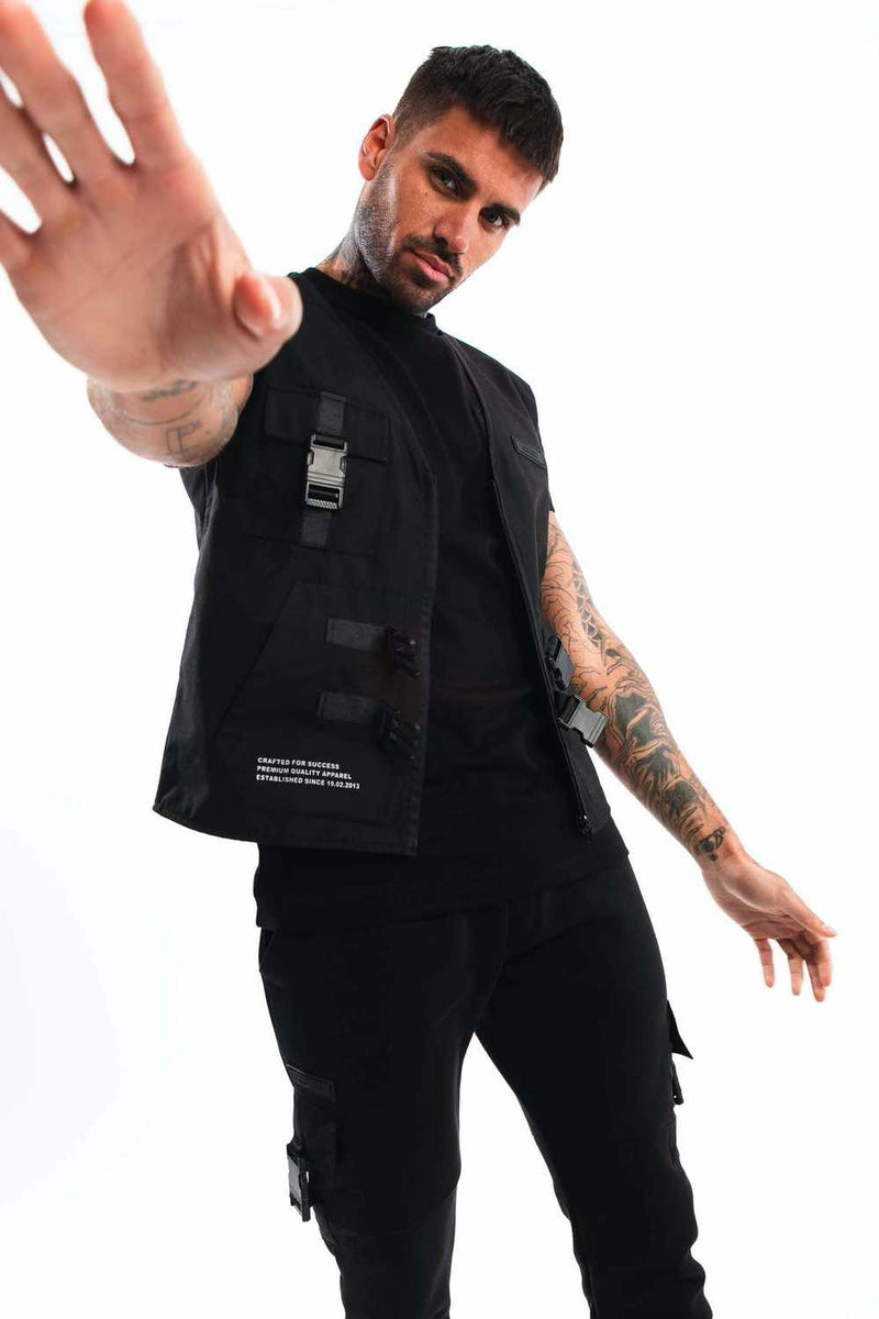 Fresh Couture Invicta Utility Vest - Black - 2