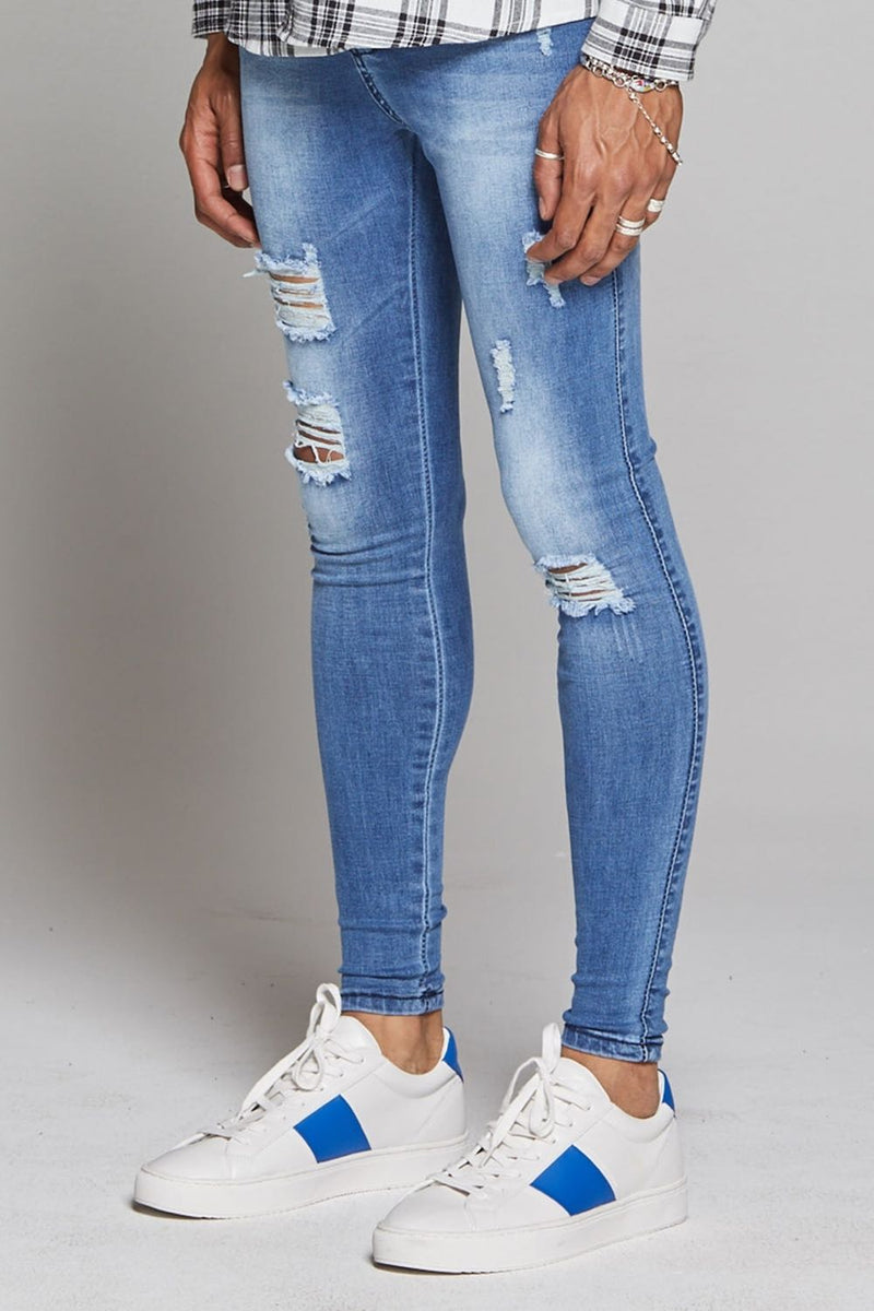 Good For Nothing Destroyed Jeans - Washed Blue - 1