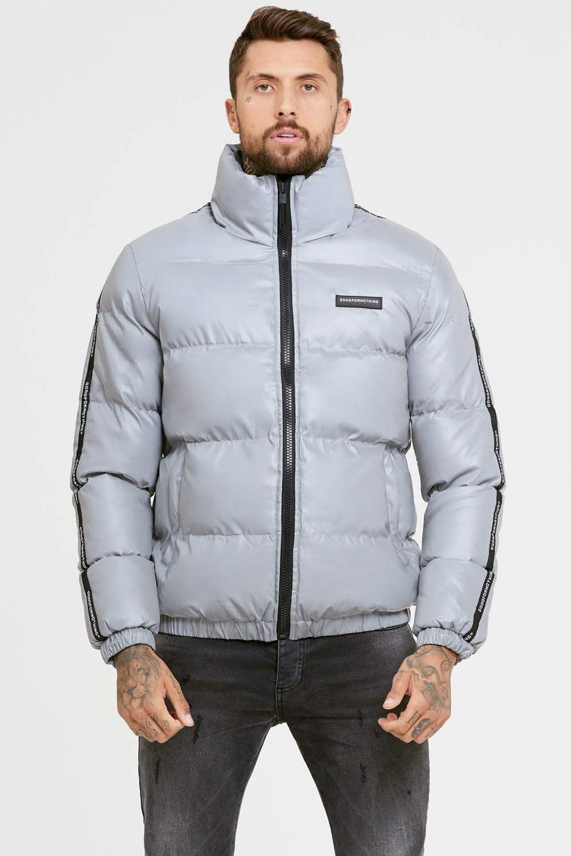 Good For Nothing Reflective Road Puffer Jacket - Grey