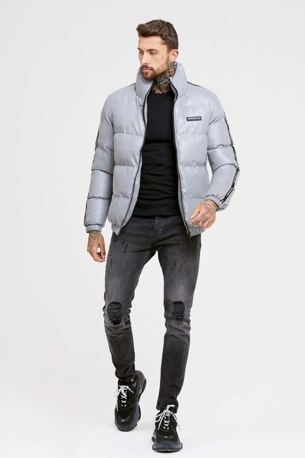 Good For Nothing Reflective Road Puffer Jacket - Grey - 1