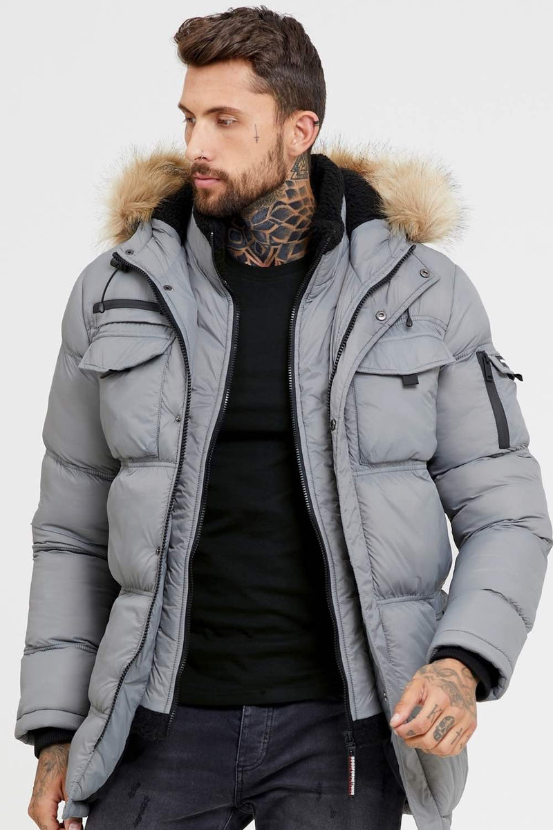 Good For Nothing Double Layered Parka - Steel Grey - 1