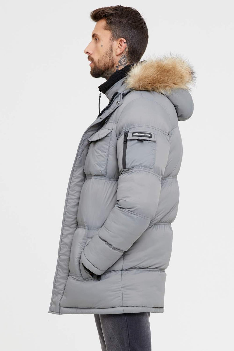 Good For Nothing Double Layered Parka - Steel Grey - 2