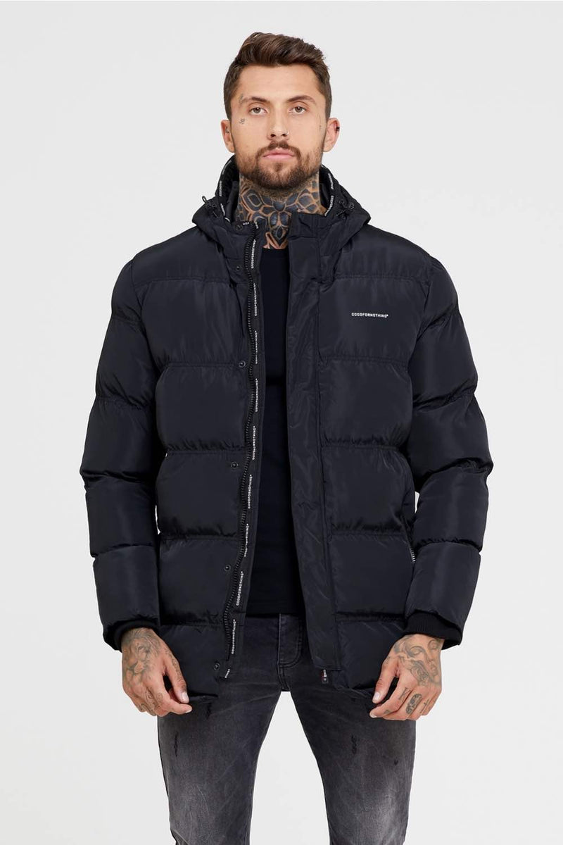 Good For Nothing Technical Long Puffer Jacket - Black