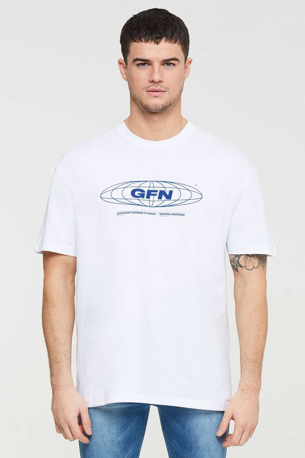 Good For Nothing Oversized Global T-shirt - White - 1