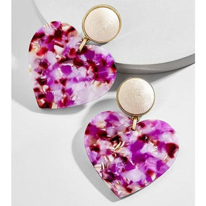 Acrylic and Resin Heart Drop Earrings - Drop Earrings