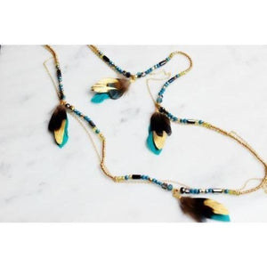 Astrapia Beaded and Feather Necklace - Layering Necklaces