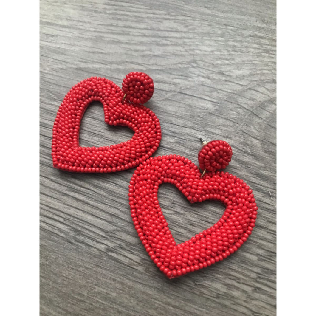 Be Mine Heart Earrings - Cherry