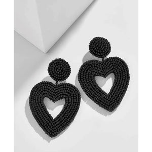 Be Mine Heart Earrings - Onyx