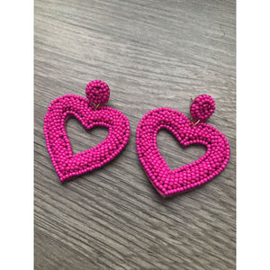 Be Mine Heart Earrings - Strawberry