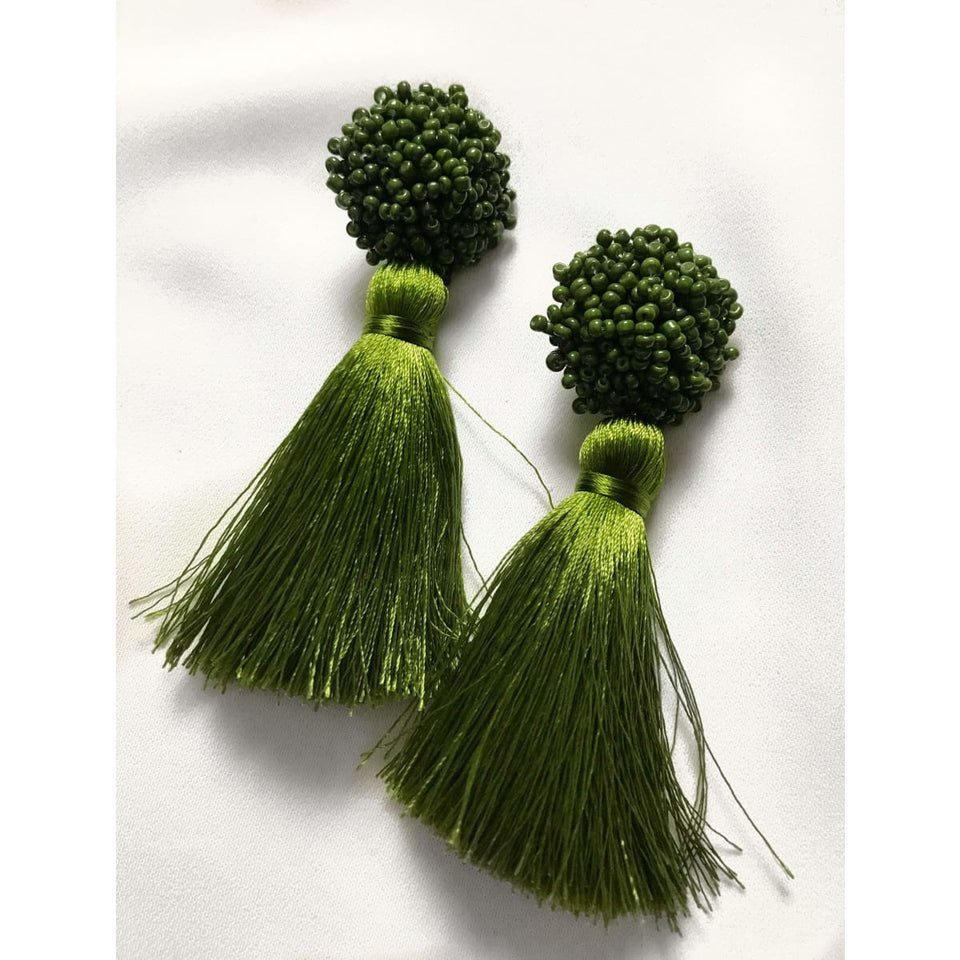 Bloom Tassel Earrings - Olive