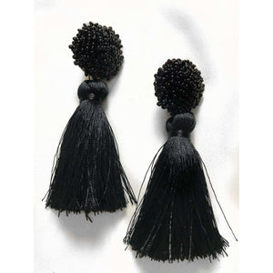 Bloom Tassel Earrings - Onyx
