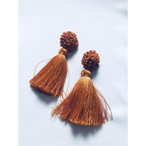Bloom Tassel Earrings - Pumpkin