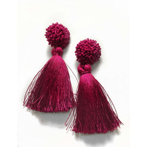 Bloom Tassel Earrings - Raspberry