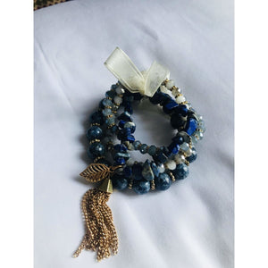Bria II Semi-Precious Stone Stacked Stretch Bracelet Set