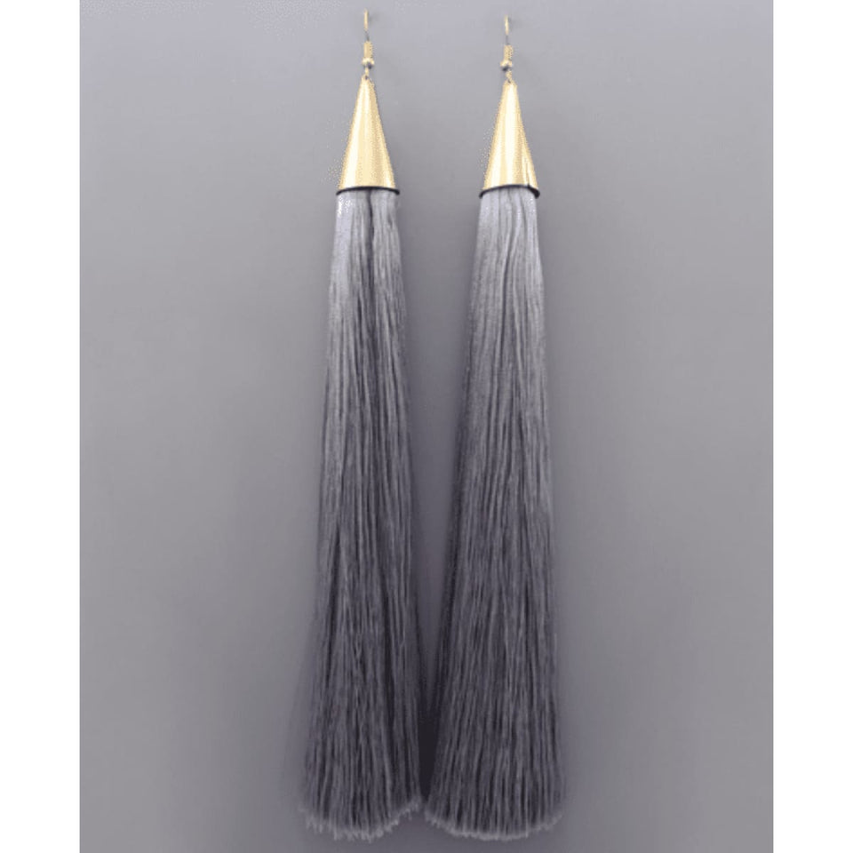Heiress Tassel Earrings - Grey
