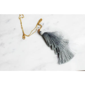 Marissa Fringe Necklace - gray