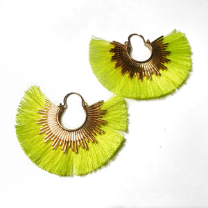 Neon Fan Fringe Earrings