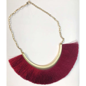 Perth Fringe Necklace. - Wine
