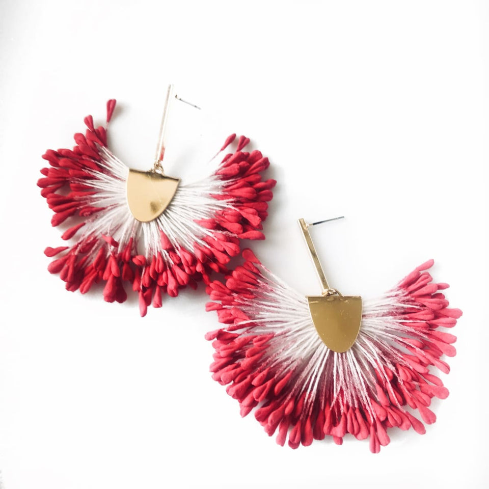 Petal Mia Earrings - Fire Pink
