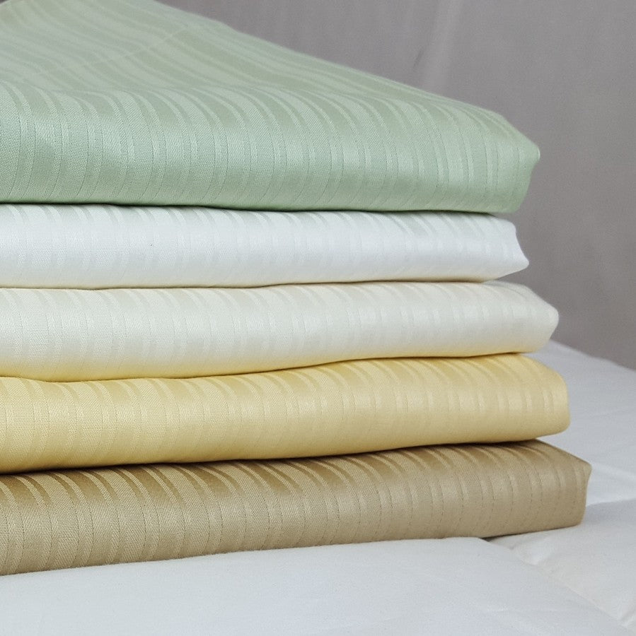 Organic Cotton Luxury Euro Collection Jacquard Stripe Sheet Sets (Different Colors and Sizes Available) - Organic Textiles
