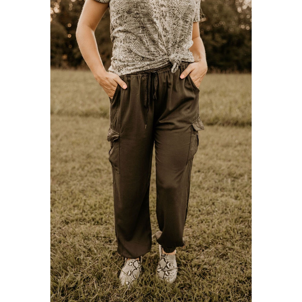Charcoal Cargo Joggers Pants - Shabby 2 Chic Boutiques