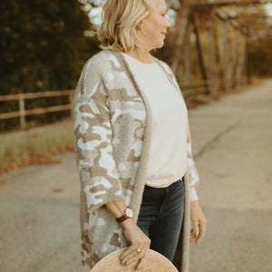 Carefree Cozy Camo Cardigan