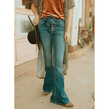 R&R Cowgirl High Rise Button Fly Flare Jean