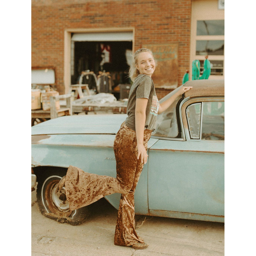 NFR Ready Crushed Velvet Bell Bottoms