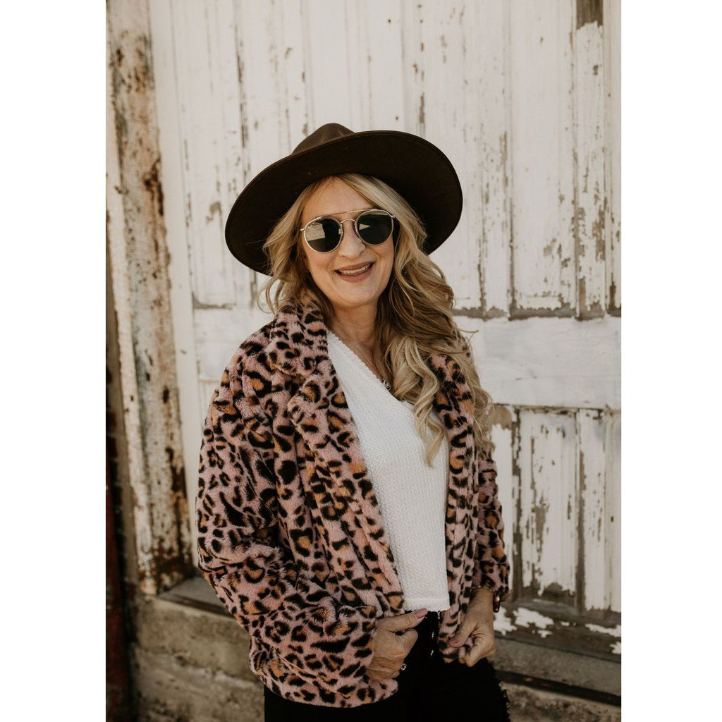 Leopard Pink Cropped Sherpa Coat - Shabby 2 Chic Boutiques