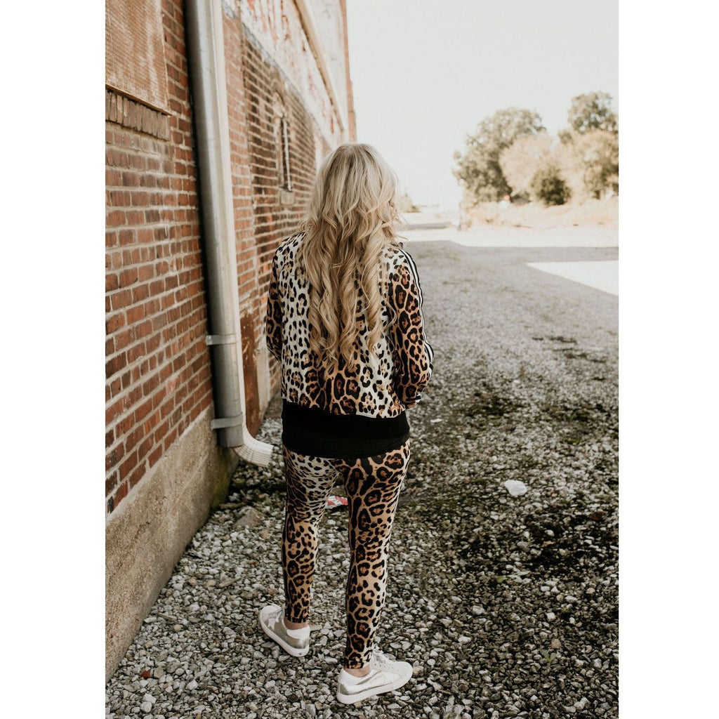 Can't Catch Me Leopard  Print Bomber Jacket - Shabby 2 Chic Boutiques