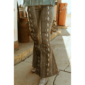 The Harmony High Waist Flare In Snake Print