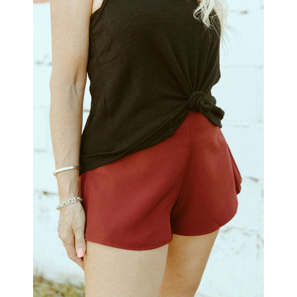 Totally Trending Burgundy Swing Shorts