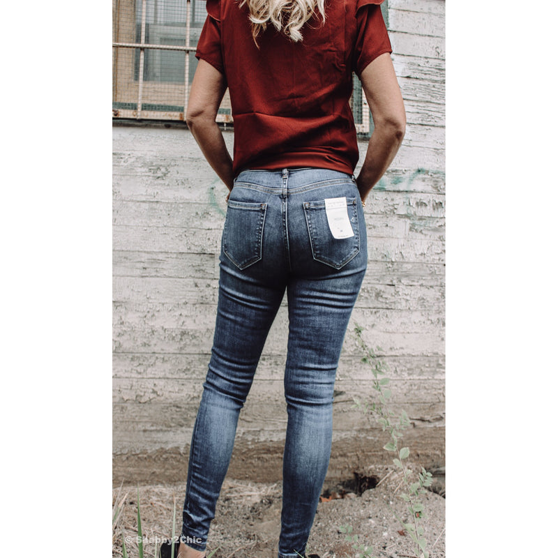 The Gill Midrise Distressed Ankle Skinny