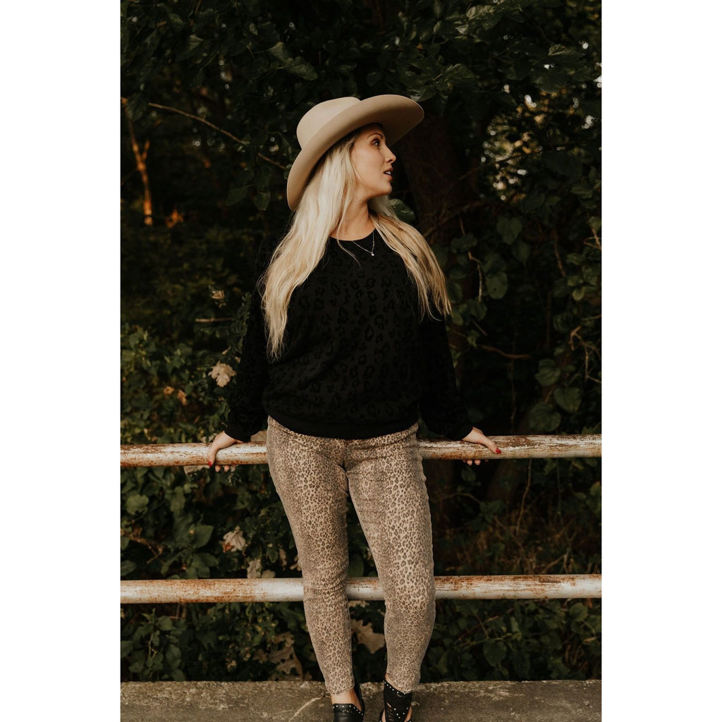 Z Supply Flocked Pullover in Black - Shabby 2 Chic Boutiques