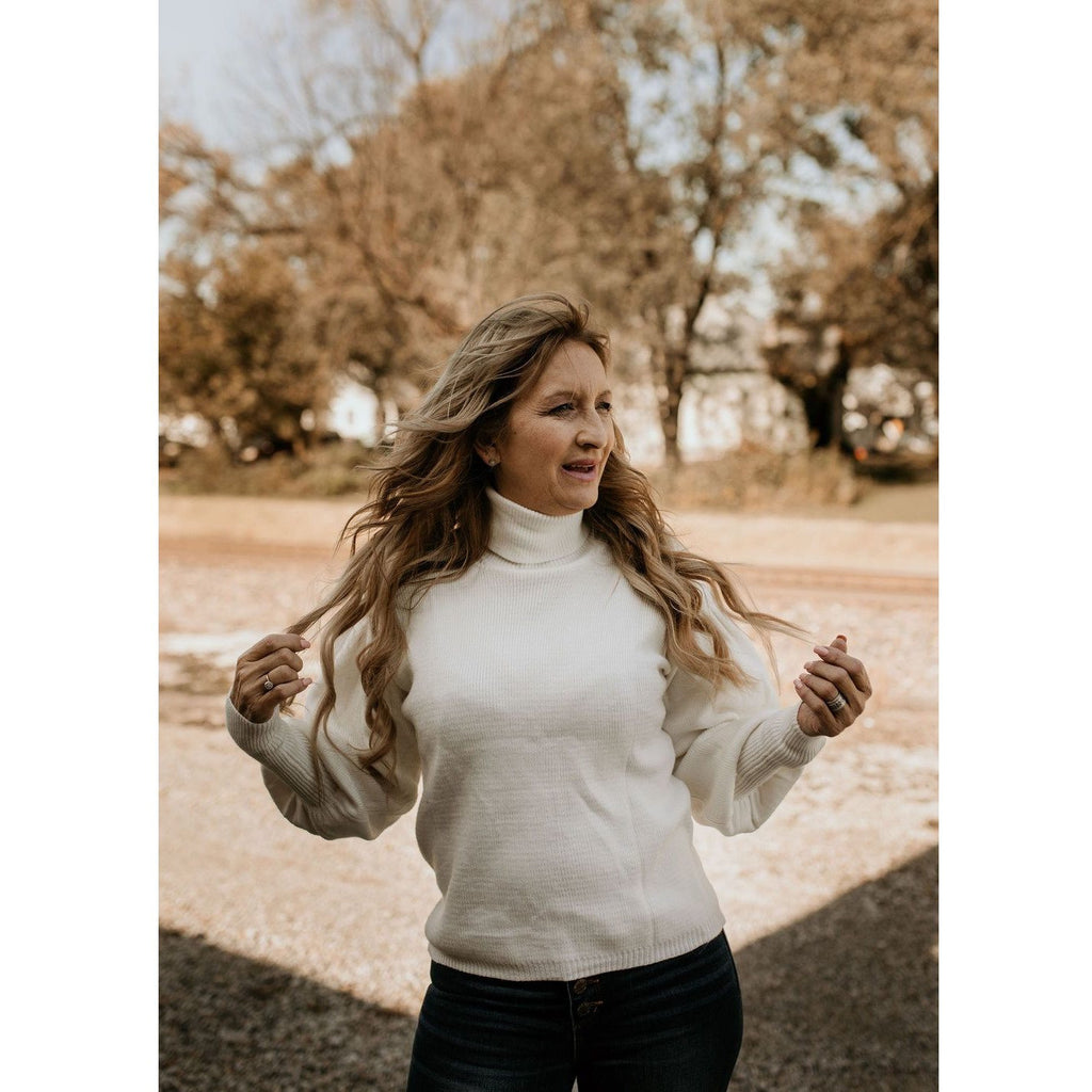 Say Anything Ivory Turtleneck Sweater - Shabby 2 Chic Boutiques