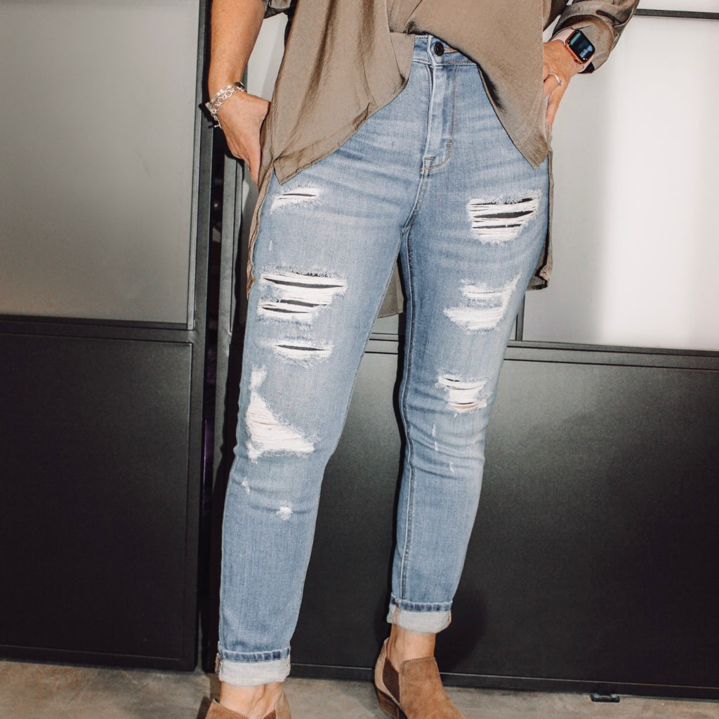 The Venice High Waist Distressed Jean