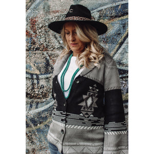 Grey and Black Aztec Print Cardigan