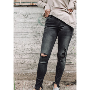 The Olandra High Waist Distressed Skinny
