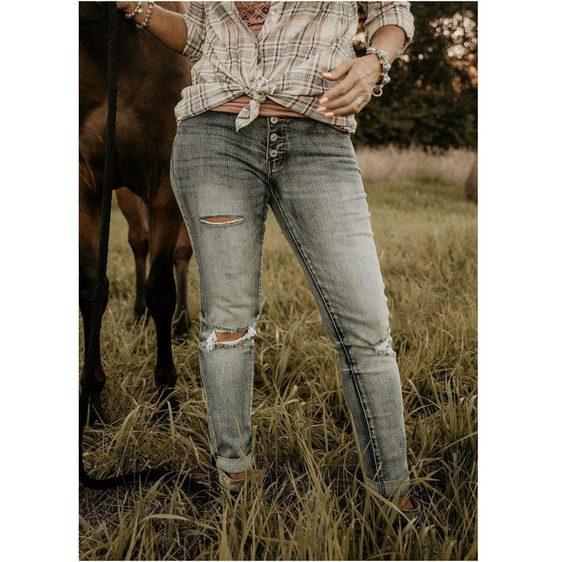 KanCan After A While Medium Wash Distressed Girlfriend Jeans - Shabby 2 Chic Boutiques