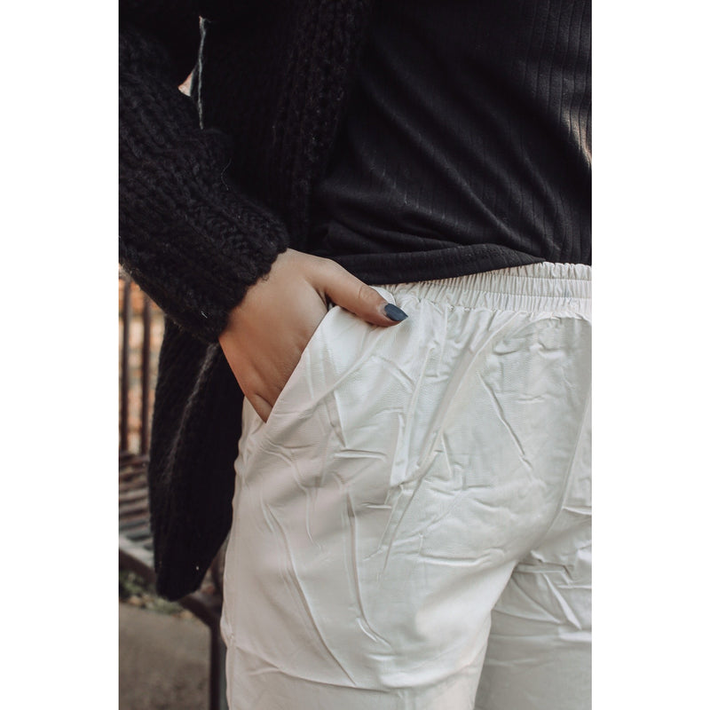 Russel Ivory Vegan Leather Jogger