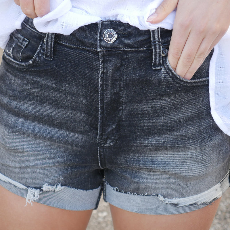 The Simon High Waist Distressed Shorts in Black