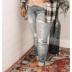 The Sammy Mid Rise  Distressed Ankle Skinny