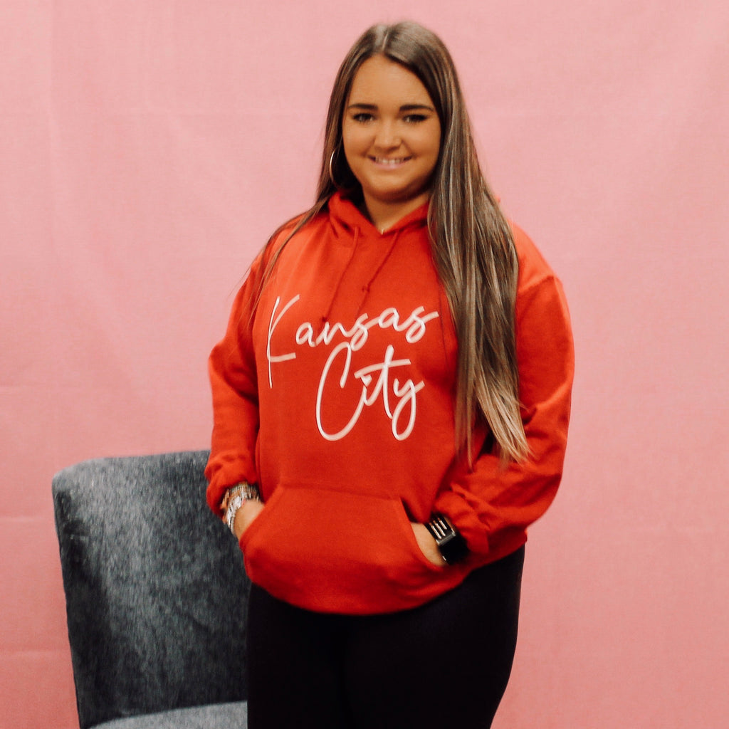 Kansas City Cursive Red Hoodie