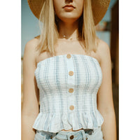 Sea Stripe Ruffle Smocked Tube Top