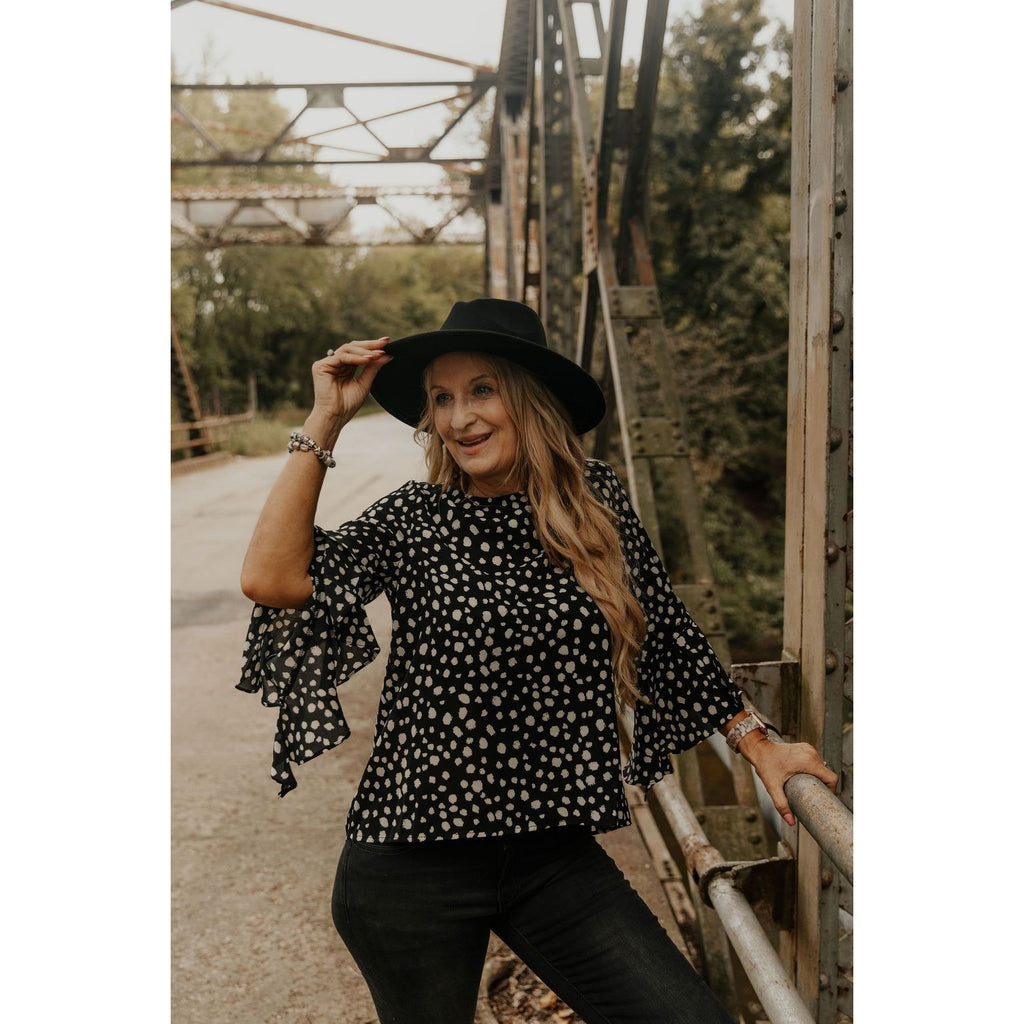 Look Into This Black Polka Dot Blouse - Shabby 2 Chic Boutiques