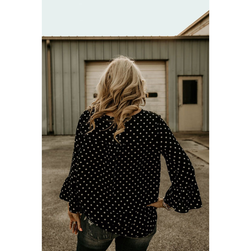 Gift For You Black Polka Dot Button Up Top - Shabby 2 Chic Boutiques