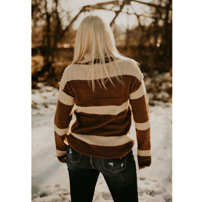 No Middle Ground Tan Stripe Sweater - Shabby 2 Chic Boutiques